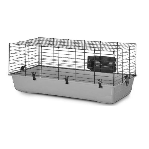 grey rabbit cage
